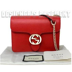 GUCCI red ICON crossbody INTERLOCKING G Chain Bag